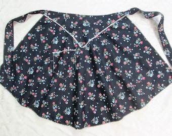 Vintage Half Apron Black Floral Hostess Apron Retro Mid Century Kitchen Linens Vintage Linens