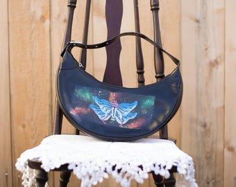 Leather Half-moon Galaxy Moth Handbag
