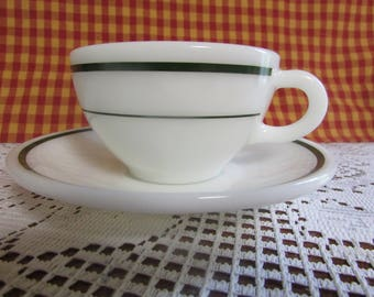 VINTAGE Pyrex Corning Double Tough VTG Tea Cup And Saucer VINTAGE green band Restaurant dishes