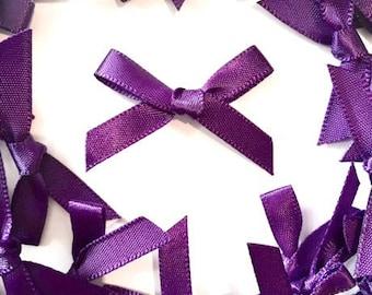 25 Purple Mini Fabric Satin Bows 7mm  - Card Making Embellishments Craft Sewing