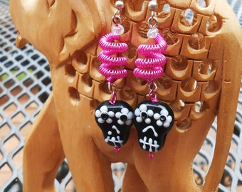 Ceramic and Wire Wrapped Black and Hot Pink Skull Earrings
