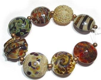 Spring Fling Sale Handmade Glass Lampwork Beads, Earthenware Lentils
