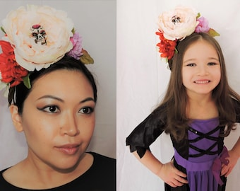 Red, Pink, Lavender, and White Floral Sugar Skull Headband