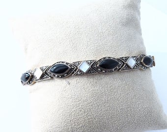 925 silver sterling and onyx stones, marcassite and nacre