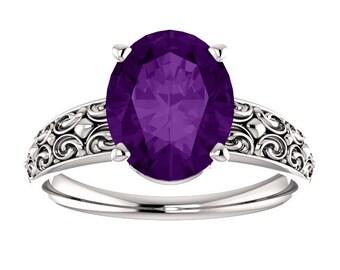 Amethyst 14K White Gold Ring, Oval Gemstone February Birthstone Ring, Wide Band