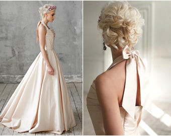 Amond / Wedding dress low back wedding dress taffeta wedding dress quinceanera wedding dress Romantic wedding dress open back wedding dress