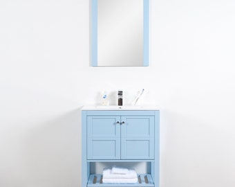 """Manhattan Collection 30"""" inches Sky Blue Integrated Sink Vanity Set with Mirror"""