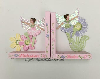 fairy bookends,fairy,book ends,kids bookend,flower fairies,flower  bookends,children's bookends,girl gift,bookends,girl bookends,pink fairy,