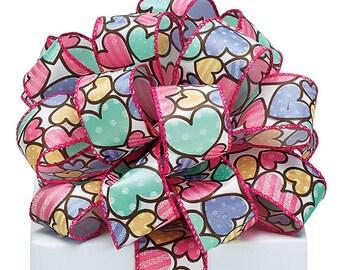 "1.5""x 20yds Hearts Satin Wired Edge Ribbon/Wreath Supplies/Valentine's Day Ribbon/1382203"