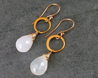 White moonstone earrings w/ 22k gold vermeil circle earrings-OOAK handmade gold filled jewelry