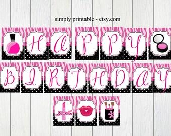 PRINTABLE Glamour Girl Banner (Digital File)