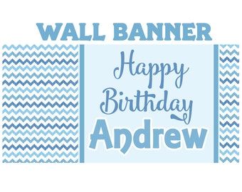 Sea Breeze Happy Birthday Banner  ~ Personalized Chevron Party Banners - Birthday Banner, Boys Birthday Banner, Printed Banner