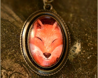FOX Volpe illustrated necklace  - illustrated jewelry