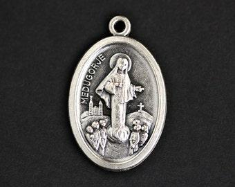 Medugorje Medal. Catholic Pendant. Medugorje Pendant. Medugorje Charm. Catholic Saint Medal. 25mm x 16mm (Qty 1)