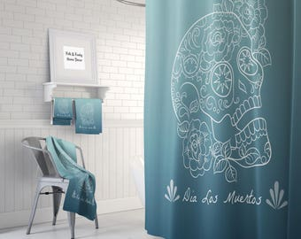 Sugar Skull Shower Curtain -Day Of The Dead-Dia Los Muertos Teal Ombre