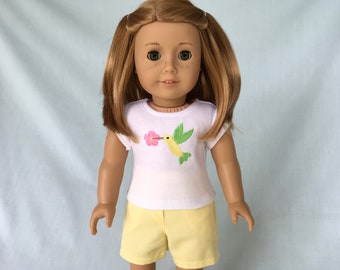 Hummingbird T-Shirt and Yellow Shorts for American Girl/18 Inch Doll
