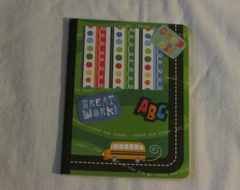 Handmade Altered Composition Book.  School Themed.