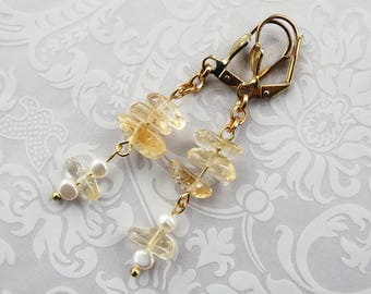 Citrine Pearl Earrings, Beaded Jewelry, Jewelry Gift, Citrine Jewelry, Gemstone Jewelry, Beaded Earrings, Pearl Earrings, Yellow Jewelry