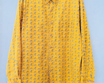 1980s Mens Shirt Vintage Gap Yellow Fishing Print