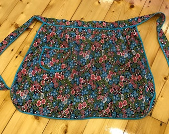 Bright Colourful Floral Pattern Vintage Retro Fabric Apron. Wrap Waist Skirt Design.