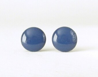Navy Blue Studs, Blue Earrings, Small Round Post Earrings, blue stud earrings, blue post earrings