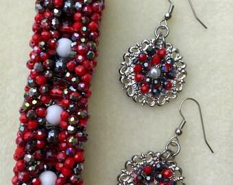 "Size 7 3/4"" Hand-Beaded Bracelet and Earrings Set"