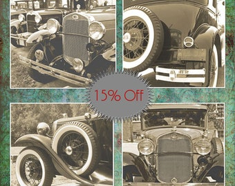 Model A Fords-Car Photography-Set of 4 Canvas Wraps-Fine Art Photography-Masculine Wall Art-Square Art Prints-Vintage Car Photos