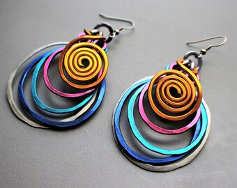 Large Bold Multi Ring Hammered Rainbow Wire Aluminum Galaxy Earrings, Ultimate POWER!