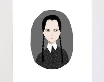 Wednesday Addams Portrait Illustration Art Print