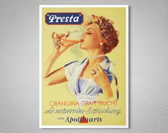 Presta Orangina Grape-Frucht Vintage Food & Drink  Poster - Poster Print, Sticker or Canvas Print / Gift Idea