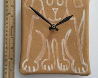 Pottery dog wall decor clock: white black hand painted ceramic rectangle handmade