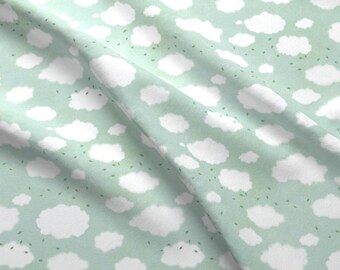 Gusty Clouds Fabric - Going Home Clouds By Katherine Quinn - Clouds Wind Leaves Gust Sky Floating Cotton Fabric By The Yard With Spoonflower