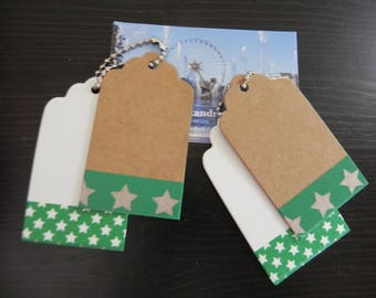 Pair of tags: 2 + 2 labels 7 x 4 cm decorated with masking tape with stars