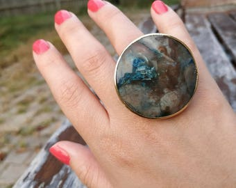 Earth Statement Ring - Blue and gray hues