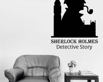 Wall Vinyl Decal Sticker Sherlock Holmes Detective Story House and Detective Office Decor (2526dz)
