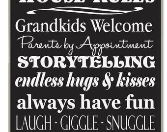 Customize Grandparents House Rules Grandma or Grandpa Handpainted Wood Sign 16 x 10.5