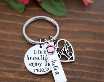 Life Is Beautiful Sweet 16 Keychain | Sweet 16 Birthday Gifts | Personalized Sweet 16 Keychain | Sweet 16 Birthday | Gift For 16th Birthday