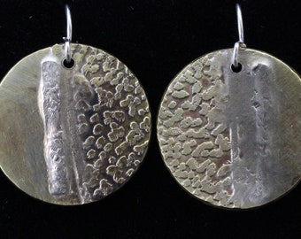 Etched Brass and Sterling Silver Earrings (031818-022)