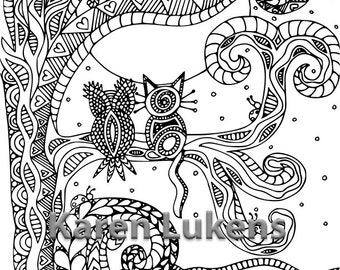"5 pages, ""Happy Owls"" Bundle #1 , 5 Adult Coloring Book Pages, Printable Instant Download"