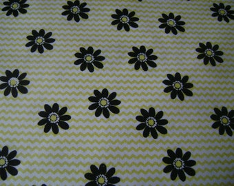 Yellow Zig Zag with Black Flowers Cotton Fabric Sold by the Yard