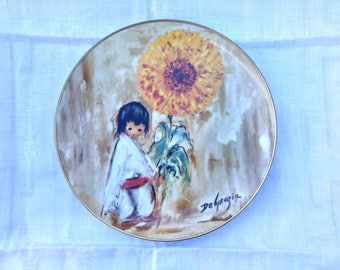 Sunflower Boy, Collectible Plate by DeGrazia, Numbered 2702