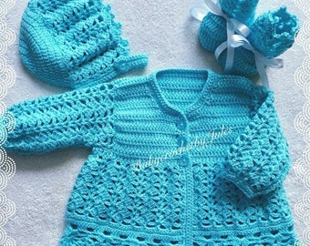 Crochet Baby Gift, Baby Crochet Matinee Set, Turquoise, Newborn, Baby Girl Outfit, Coming Home Outfit, Handmade, Crochet Baby Hat & Shoes