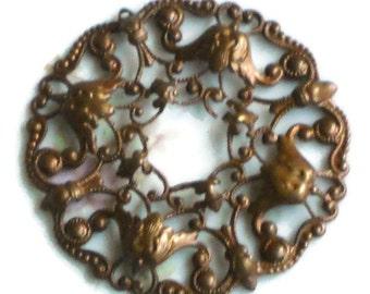 Filigree Stamping Vintaj Antique Brass Ox Wreath Ornate Victorian Pendant. #1431