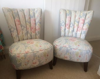 Hand-upholstered, hand-sewn pair of vintage 1930s chairs
