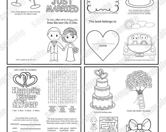 INSTANT DOWNLOAD Mini Printable Wedding coloring activity book  Favor Kids 4.25 x 5.5  pdf or jpeg DIY