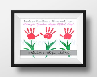 DIY Mother's Day 2018 Gift For Grandma from Kids - INSTANT Download Mothers Day Printable - Handprint Art - Watercolor Art
