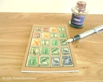 Australia Wildlife Travel Notebook | Upcycled Vintage Postage Stamps