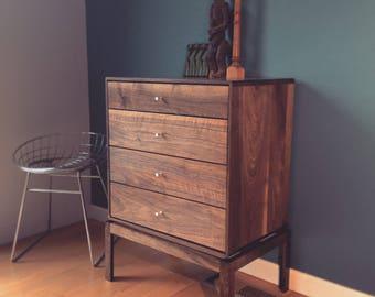 Chest of Drawers - Bedside Table - danish mid century modern - solid walnut / oak - Nightstand - scandinavian - dresser- cabinet