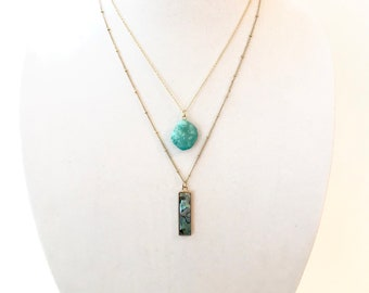 Turqouise Druzy & Abalone Pearl Multi Layer Necklace, Multi Strand Nacklace, Nacklace