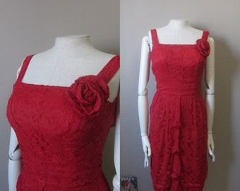 1950s red lace wiggle dress | 50's bombshell pin up old hollywood glamour